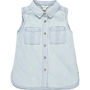 Mini girl light blue sleeveless denim shirt