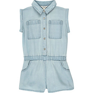 Mini girls light blue wash denim playsuit