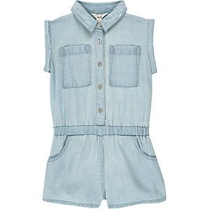 Combi-short en jean délavé bleu clair pour mini fille