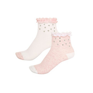 Girls pink hearts socks pack