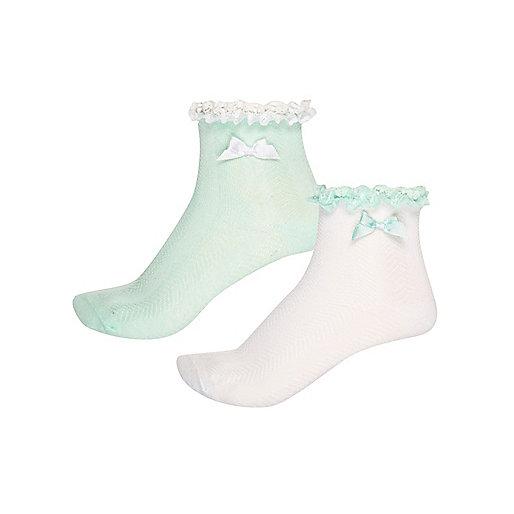 Girls green bow socks multipack