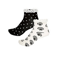 Girls black shell socks multipack