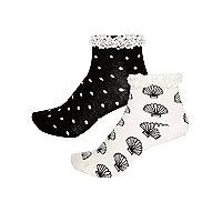 Schwarze Socken mit Muscheln, Multipack