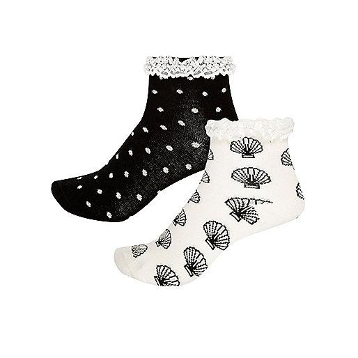 Lot de chaussettes noires motifs coquillages pour fille