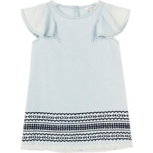 Mini girls light blue embroidered shift dress
