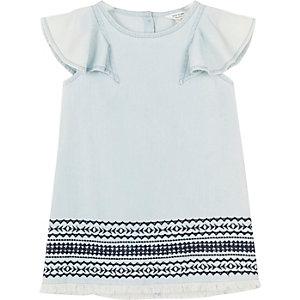 Mini girls light blue embroidered shift dress