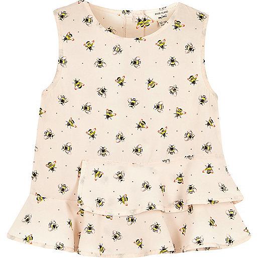 Mini girls pink bumblebee flounce top