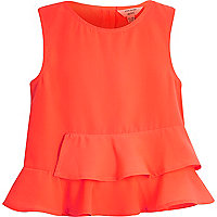 Mini girls red peplum top