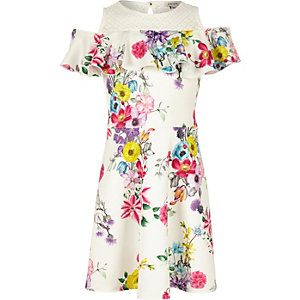 Girls white floral print bardot dress