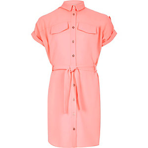 Girls coral belted shirt dress