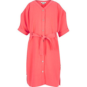 Girls coral cold shoulder shirt dress