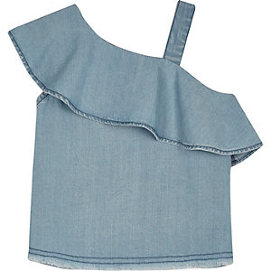 Mini girls light blue frilly one shoulder top