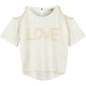 Mini girls cream cold shoulder top
