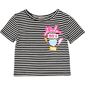 Mini girls stripe badge t-shirt