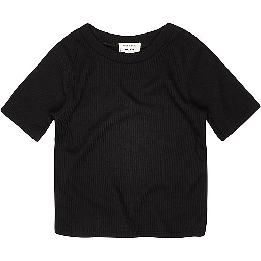 Mini girls black ribbed t-shirt