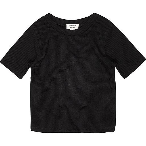 T-shirt noir côtelé mini fille