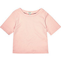 Mini girls pink ribbed t-shirt