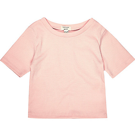 Mini girls pink ribbed t-shirt