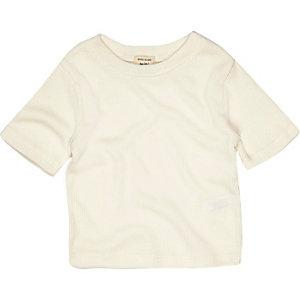 Mini girls cream ribbed T-shirt