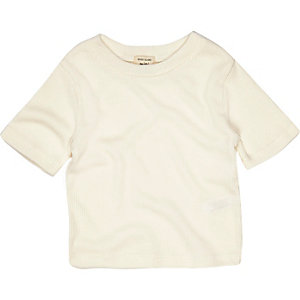Mini girls cream ribbed T-shirt