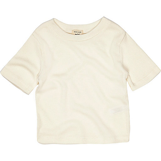 Mini girls cream short sleeve top