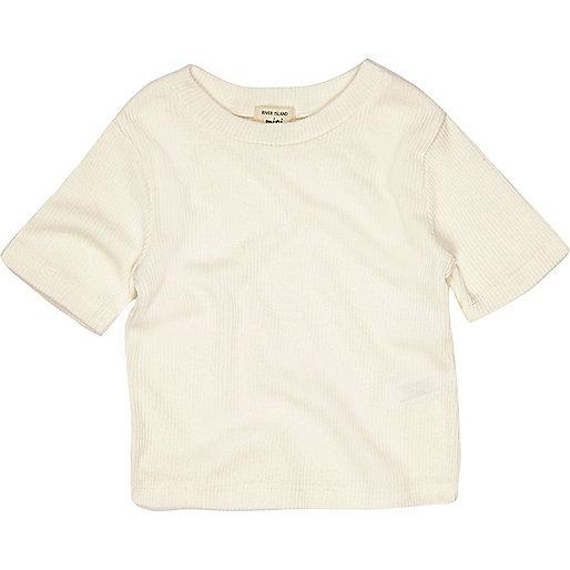 T-shirt crème côtelé mini fille