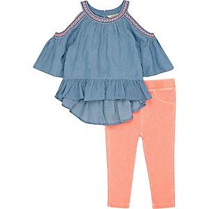 Mini girls blue denim top and leggings outfit