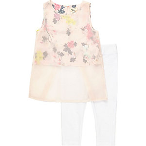 Mini girls pink top and leggings outfit