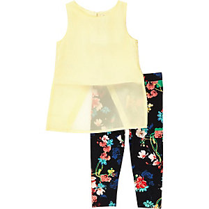 Mini girls yellow top and leggings outfit