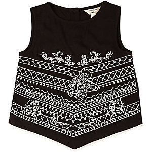 Mini girls black embroidered triangle top