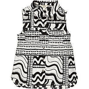 Chemise imprimée noire et blanche mini fille