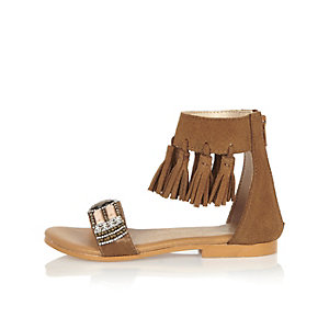 Mini girls brown fringe sandals