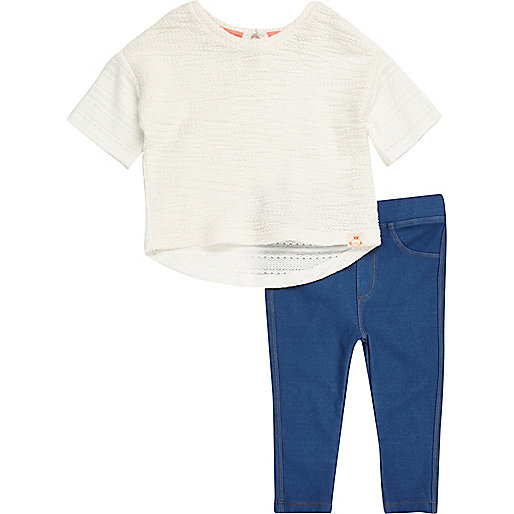 Mini girls white sweat outfit