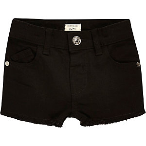 Mini girls black frayed denim shorts