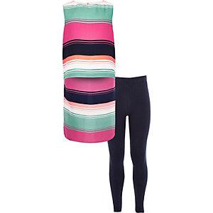 Girls pink hi low hem leggings outfit