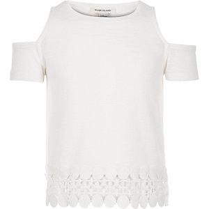 Girls white cold shoulder top