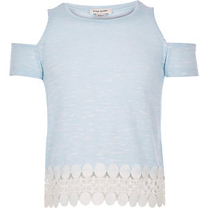Girls light blue cold shoulder top