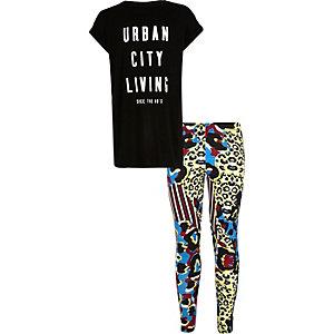 Girls black t-shirt leopard leggings outfit