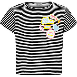 Girls black stripe patch t-shirt