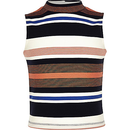 Girls navy stripe top