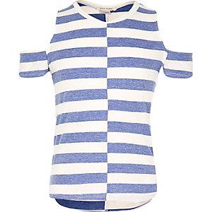 Girls blue stripe cold shoulder top
