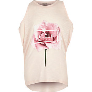 Girls pink floral print top