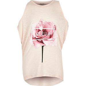 Girls pink floral print top