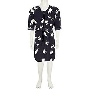 Girls navy print zip shirt dress