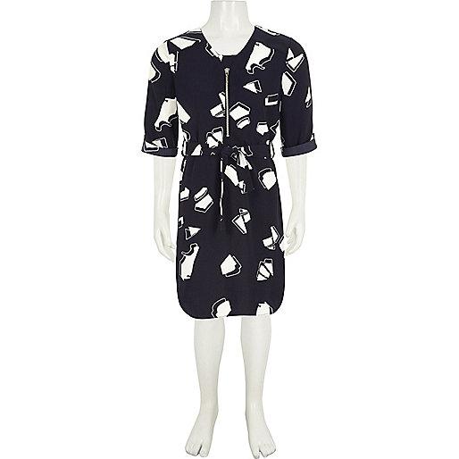 Girls navy print zip shirt dress