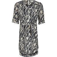 Robe chemise imprimé serpent bleu marine pour fille