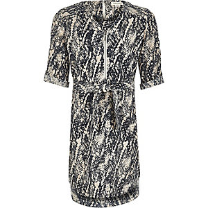Girl navy snake print shirt dress