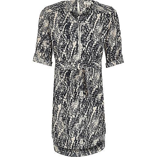 Girl navy snake print shirt dress