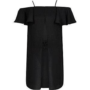 Girls black layered bardot tunic