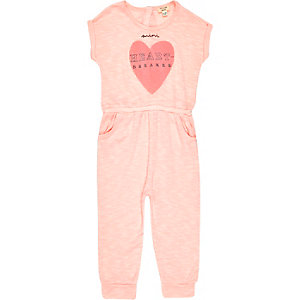 Mini girls pink heart breaker print romper